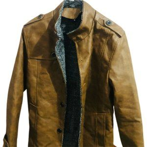 Minimalist Formal Jacket Size L Brown Mens Leather Jacket